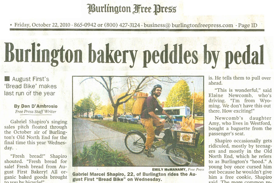 Burlington Bakery Peddles by Pedal
