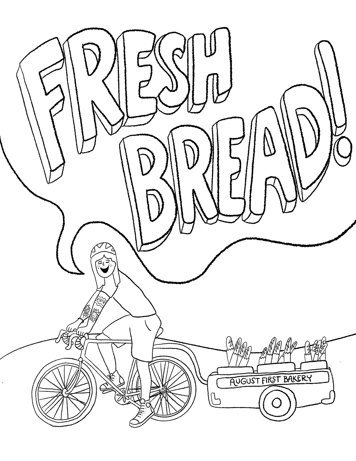AUGUST FIRST COLORING BOOK: BREAD BIKE