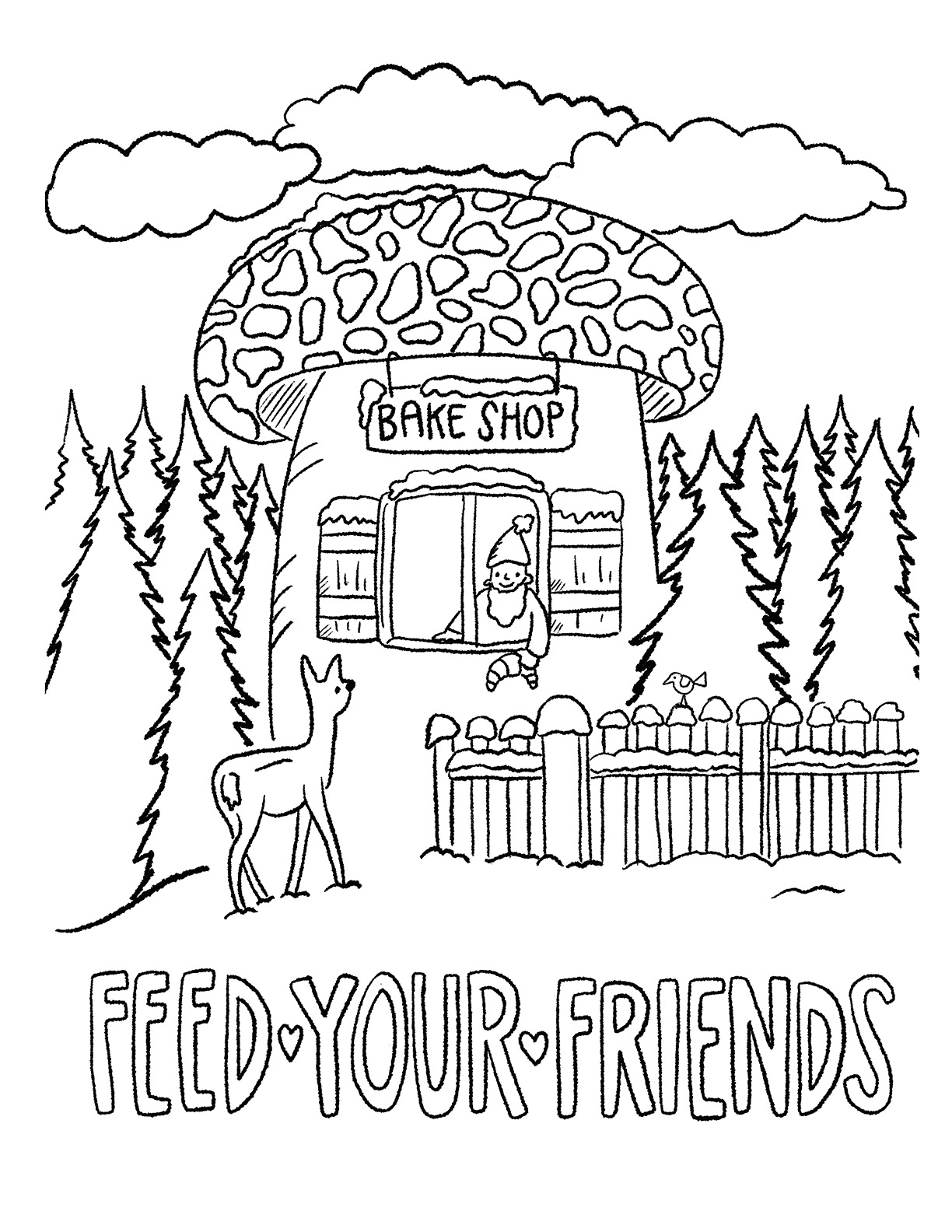 AUGUST FIRST COLORING BOOK: FEED YOUR FRIENDS